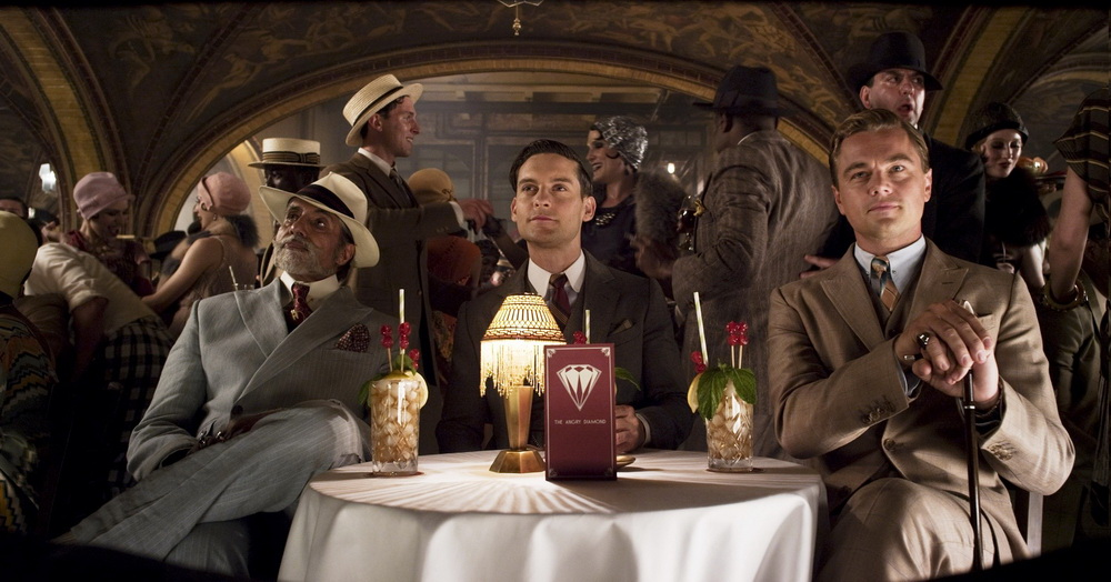 "(L-r) AMITABH BACHCHAN as Meyer Wolfshiem, TOBEY MAGUIRE as Nick Carraway and LEONARDO DiCAPRIO as Jay Gatsby in Warner Bros. Pictures' and Village Roadshow Pictures' drama ""THE GREAT GATSBY,"" a Warner Bros. Pictures release."
